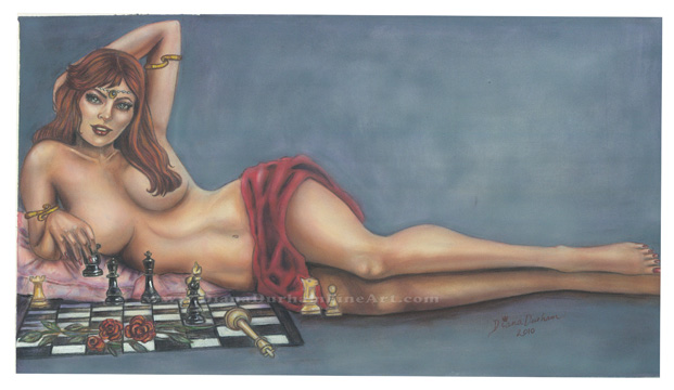 Chess-Queen-pinup-painting